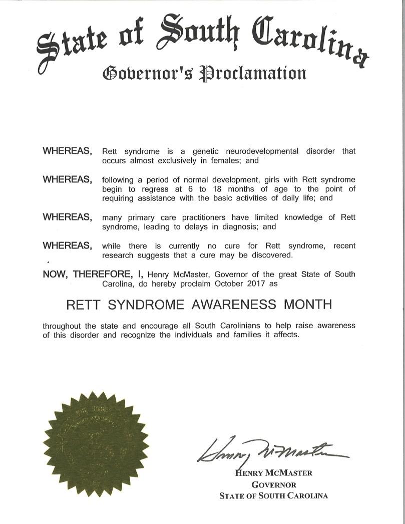 Rett Awareness Month SC